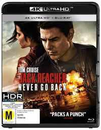 Jack Reacher 2: Never Go Back (4K UHD + Blu-ray) DVD