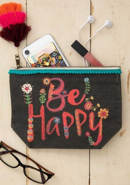 Natural Life: Canvas Cosmetics Pouch - Be Happy