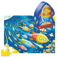 Crocodile Creek: 36-Piece Shaped Box Puzzle - Space Race image