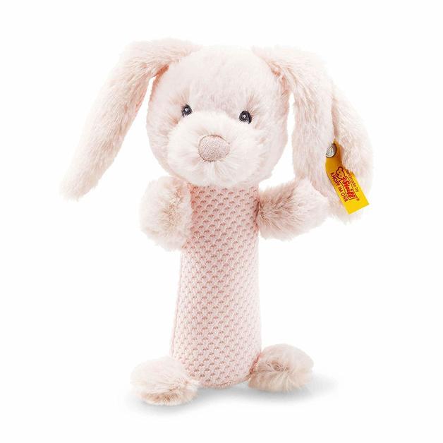 Steiff: Soft Cuddly Friends - Belly Rabbit Rattle (Pale Pink)