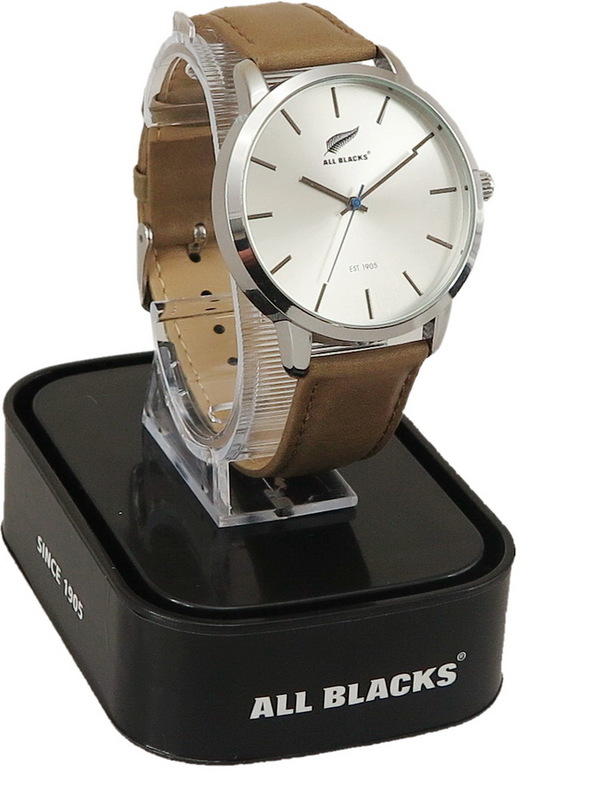 All Blacks Watch - Silver Face/Brown Leather Strap