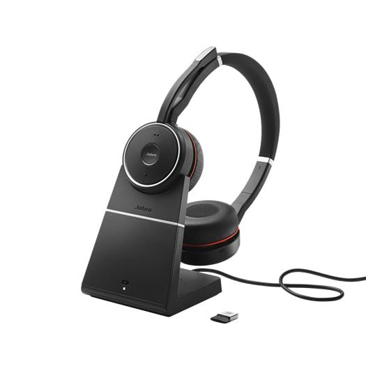 Jabra Evolve 75 Wireless Bluetooth UC Stereo Headset with Charging Stand