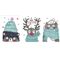 The Art File: Boxed Trio Christmas Cards - Cute (12 Pack)