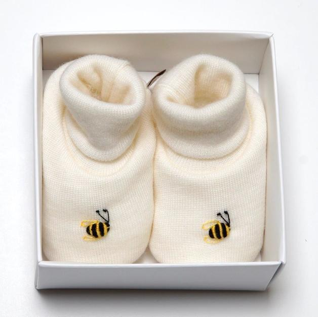 Dimples: Gift Boxed - Merino Pastel Marl Booties - Cream (3-6 Months)