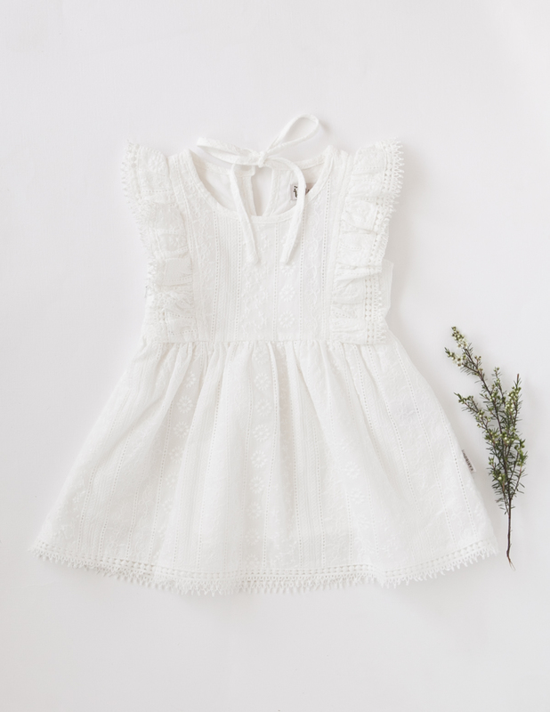 Karibou Kids: Little Angel Cotton and Lace Dress - White 4YRS
