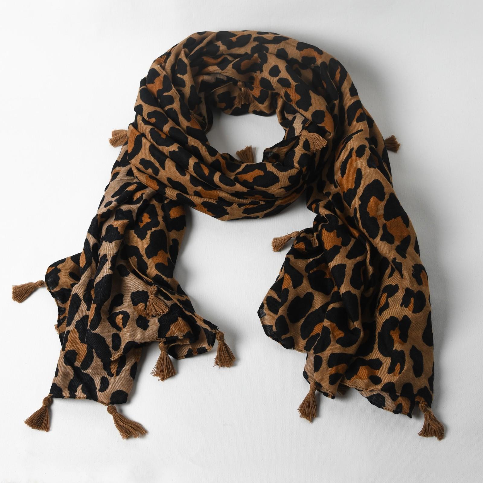 Adorne: Tassel Edge Leopard Scarf image