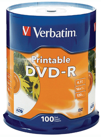 Verbatim DVD-R 4.7GB 16x White InkJet - 100 Pack