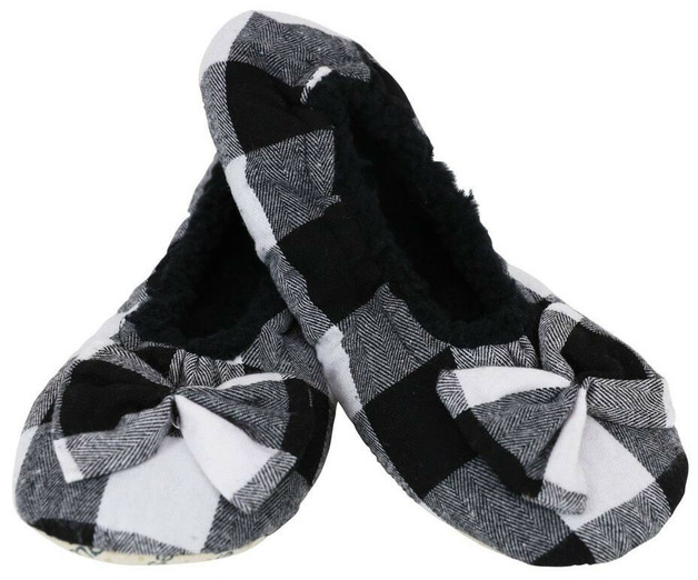 Slumbies White Women's Plaid Slippers (S)