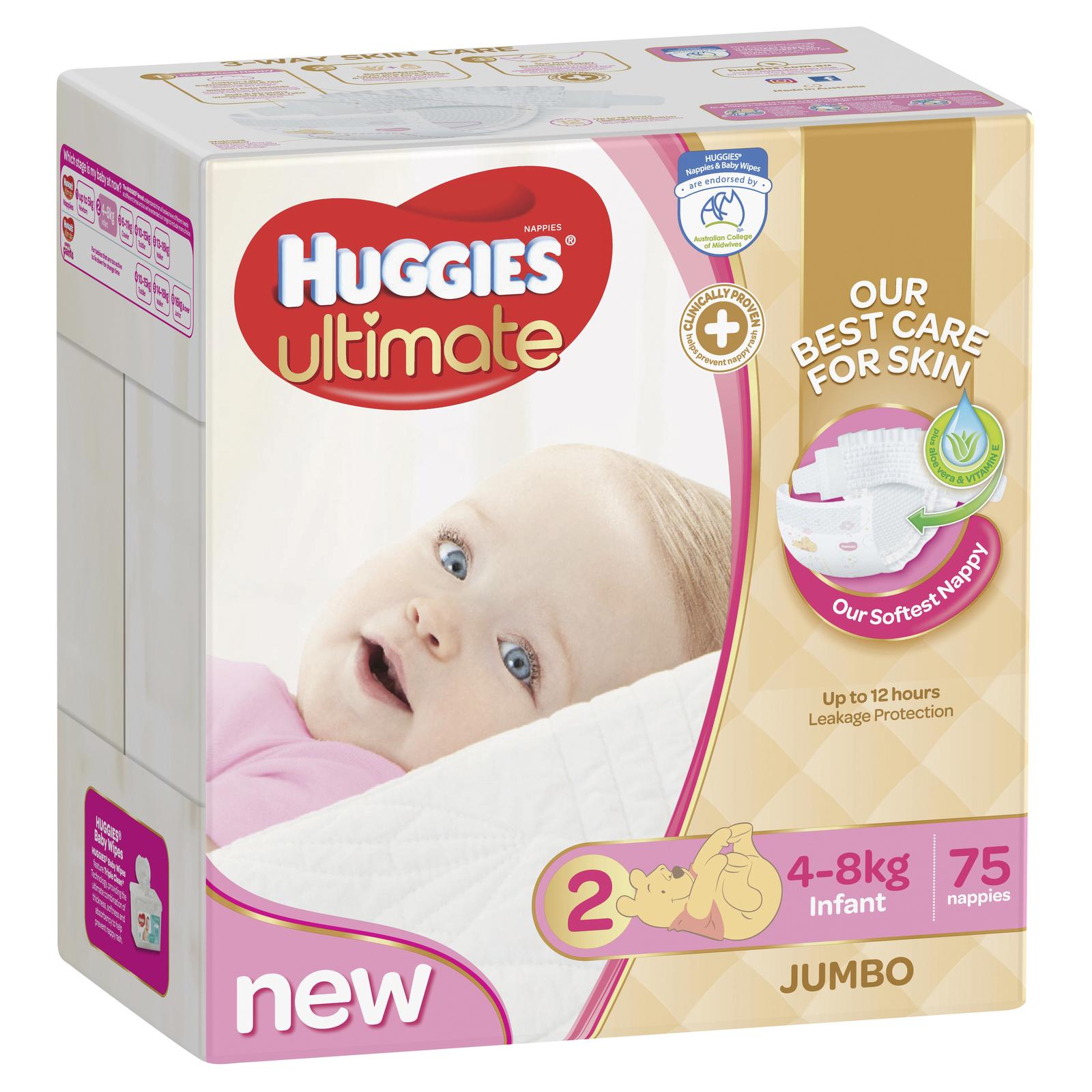 Huggies Ultimate Nappies: Jumbo Pack - Infant Girl 4-8kg (75) image