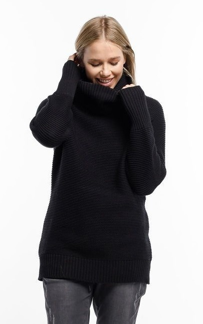 Home-Lee: Chunky Knitted Sweater - Black With Roll Neck - XL