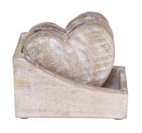 Heart Shaped Wooden Coaster (Set of 6)