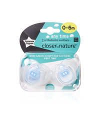 Closer to Nature Any Time Soother 0-6 Months (Blue) - 2 Pack