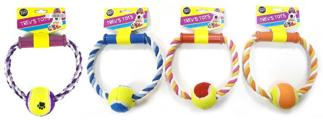 Multi Coloured Ring & Ball Dog Tugs image