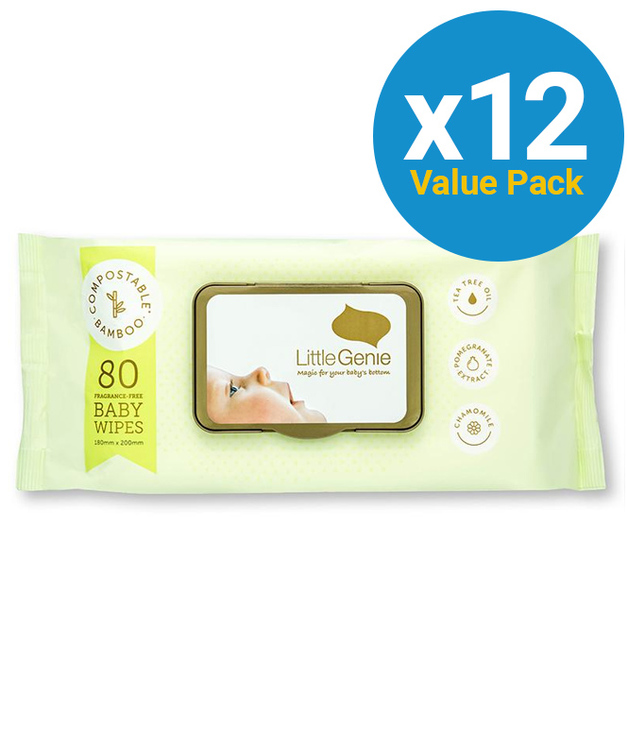 Little Genie: Compostable Fragrance Free Baby Wipes (12x80 wipes)