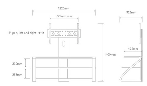 "OMP Hikurangi 3 Shelf TV Mount - 37-52"" TV's image"