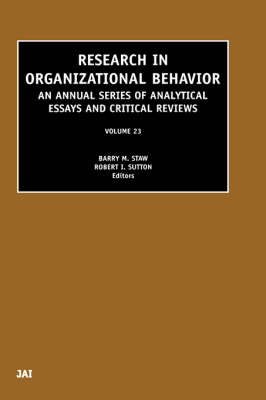 Research in Organizational Behavior: Volume 23 image