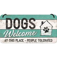 Nostalgic Art: Hanging Sign - Dogs Welcome