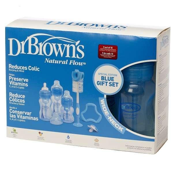 Dr Brown: Wide Neck Gift Set - 3 Bottles, Pacifier, Teether, Bottle Brush (Blue) image