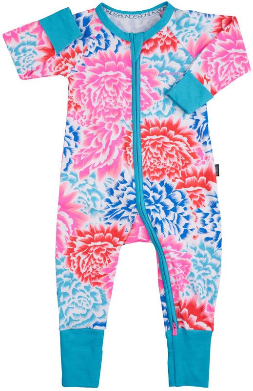 Bonds Zip Wondersuit Long Sleeve - Tokyo Bloom (6-12 Months)