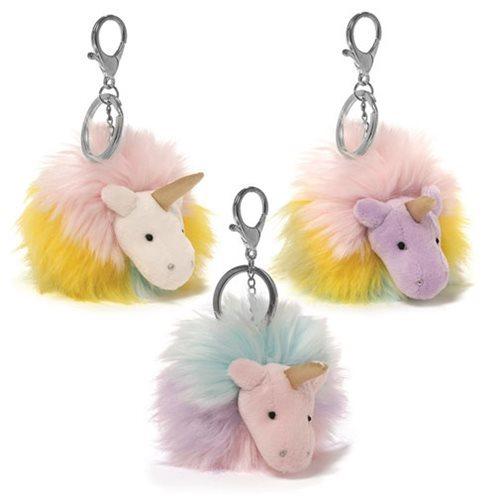 Unicorn Rainbow Poofs - Plush Key Chain (White)