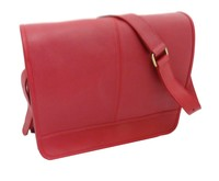 Millenium Paris: Maxime Leather Messenger Bag with Floral Lining - Red