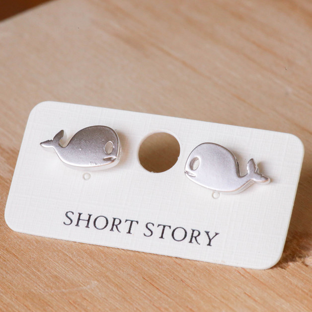 Short Story: Funky Play Earrings - Silver Whale