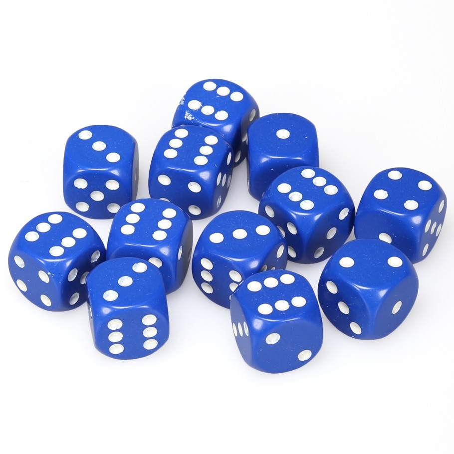 Chessex: D6 Opaque Cube Set (16mm) - Blue/White image