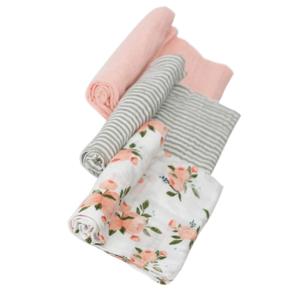 Little Unicorn: Cotton Muslin Swaddle - Watercolour Roses (3 Pack) image