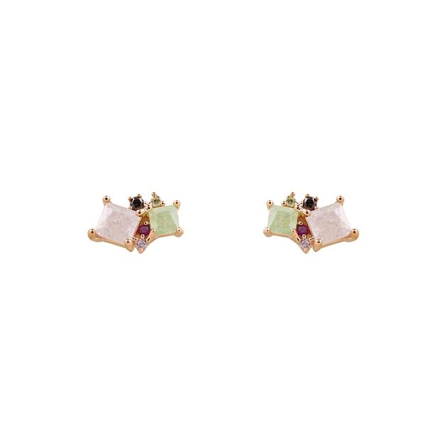 Short Story Earrings Allure - Green & Pink