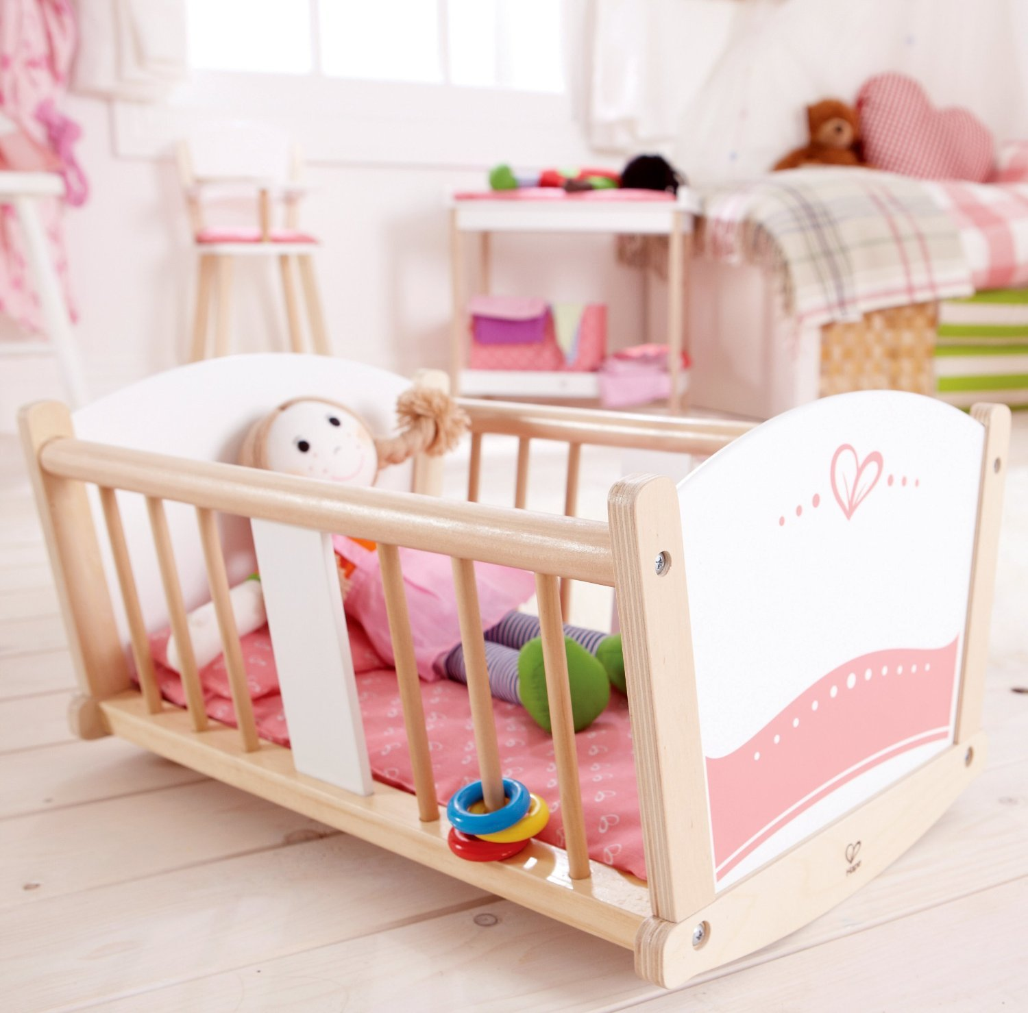 hape rock a bye wooden baby cradle toy at mighty ape nz