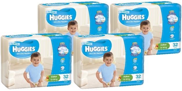 Huggies Ultra Dry Nappies Bulk Shipper - Walker Boy 13-18kg (128)