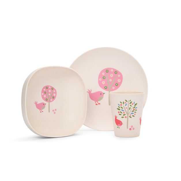 Chirpy Bird Bamboo Meal Set with Cutlery