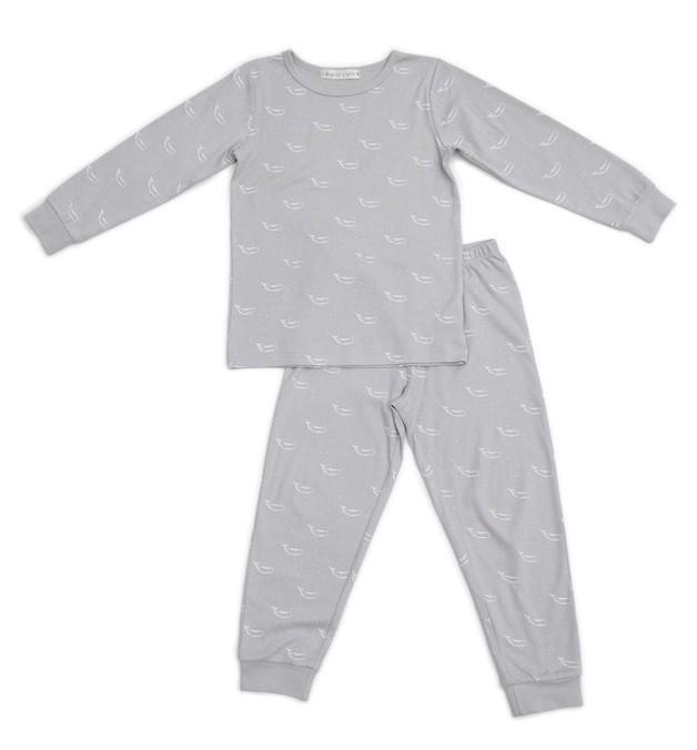 Organic Nights: Soft Grey Childrens Long Sleeve/Long Pants Pyjama Set - 4-5 years