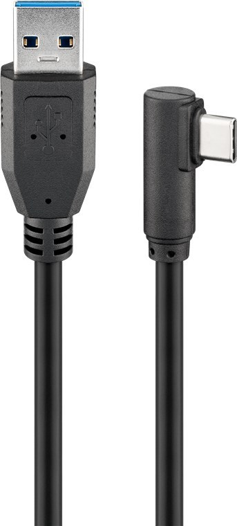 Goobay: USB-C to USB-A Cable (Right-Angle, 1m) - Black