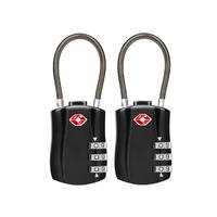 Jet Set TSA Combination Cable Luggage Lock - Black (2Pk)