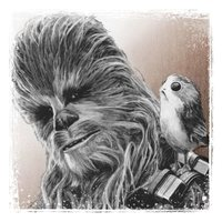 Star Wars: The Last Jedi Canvas Print - Chewbacca & Porg
