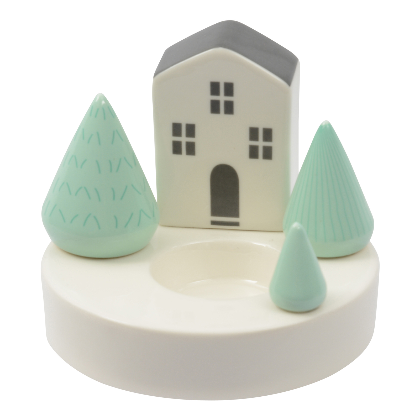 Ceramic Tealight Holder - House with 3 Trees image
