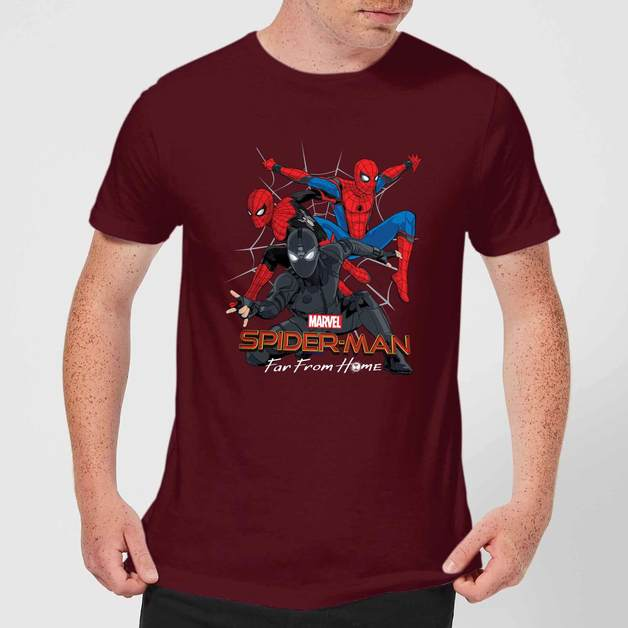 Spider Man Far From Home Multi Costume Men's T-Shirt - Burgundy - XXL