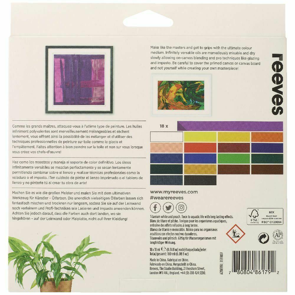 Reeves Oil Colour Paints 10ml - Set of 18 image