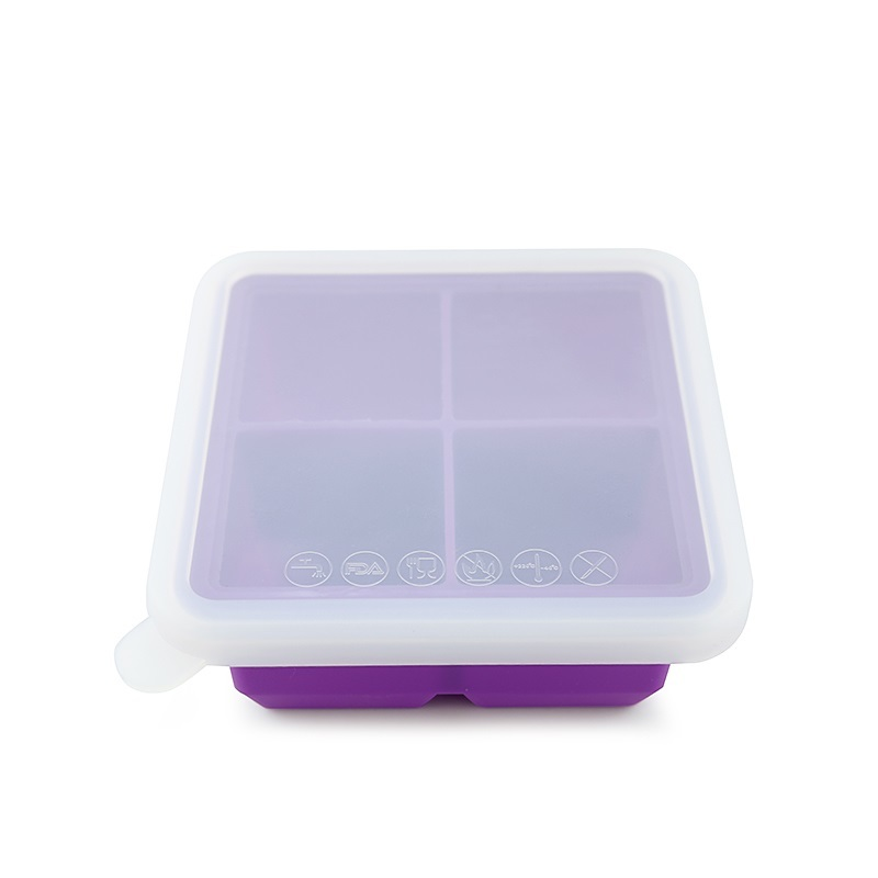 Haakaa: Silicone Baby Food Freezer Tray 4 with Lid - Purple image