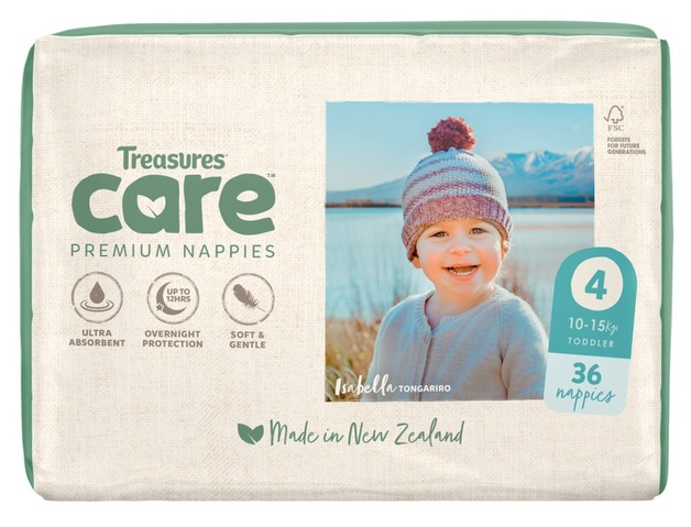 Treasures: Care - Unisex Nappies - 4: Toddler (36-pk)