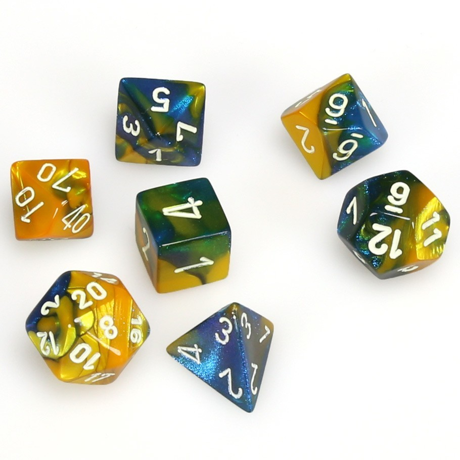 Chessex: Gemini Polyhedral Dice Set - Masquerade Yellow/White image