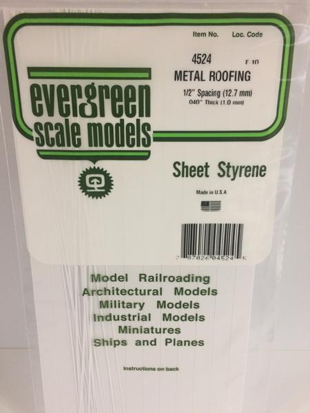 Evergreen Styrene Roofing 15X29cm X 1 mm 12.7 mmsp