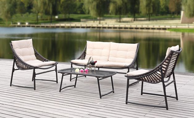 Rattan Wicker Outdoor Sofa Paradise Lounge Set 3 - Beige/Brown