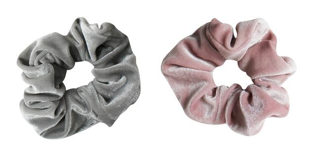 Mae: Elastics Scrunchies Pink/Grey (2)