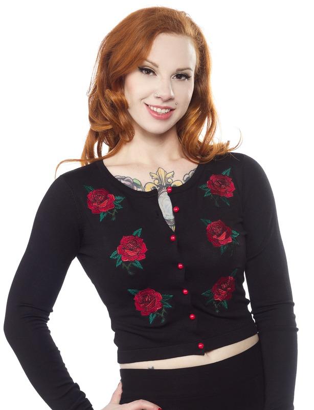 Sourpuss Rose Garden Cardigan (Small)