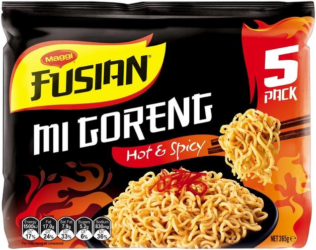 Maggi Fusian Noodles - Mi Goreng Hot & Spicy (5 Pack)