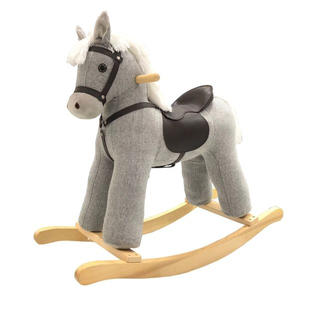 Jolly Ride: Grey Rocking Horse with White Mane