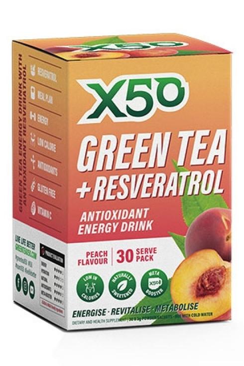 Green Tea X50 + Resveratrol - Peach (30 Sachets)
