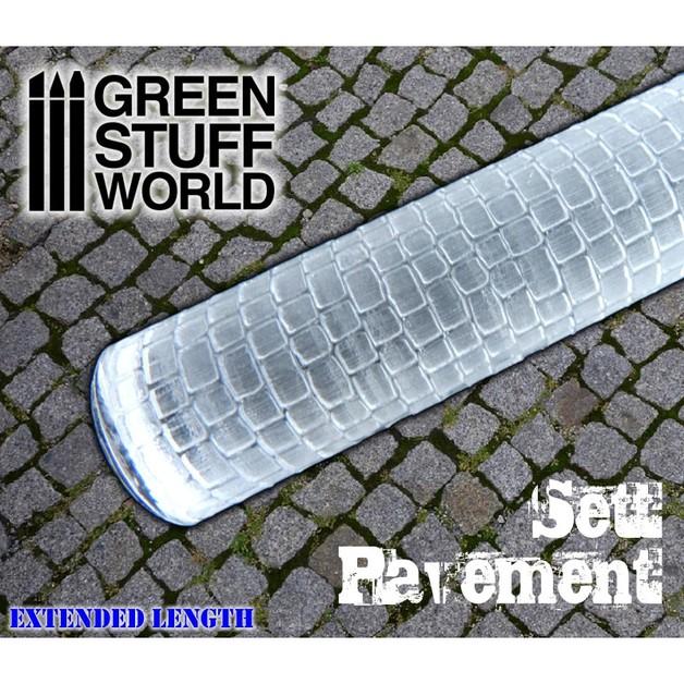 Green Stuff World Texture Rolling Pin: Sett Pavement